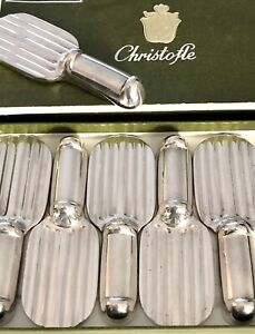 CHRISTOFLE ART DECO SILVERPLATED KNIFE REST SET 6 PCS BY LUC LANEL 'RAQUETTE'