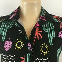 VTG Retrolicious Womens Tops Summer Fun Button Down Shirt Multicolor Size S