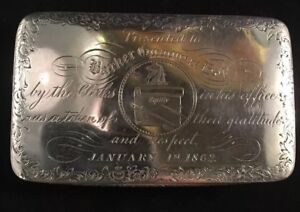 Coin Silver Snuff Box Barker Gummere Esq Lawyer Trenton New Jersey 1862