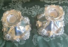 Candlesticks  ,pair 3in x 4 in . ornate white metal