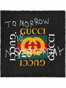 """GUCCI COCO CAPITAN Logo TOMORROW modal / silk 54"""" square Shawl Scarf Wrap BNWT"""