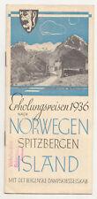 Reise Prospekt Erholungsreisen 1936 nach Norwegen Spitzbergen Island Norway  (H2