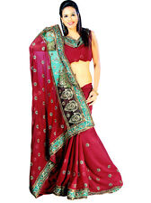 Bollywood Indian Wedding Chiffon Sequin Sari Saree Belly Dance Curtain Dress TOP