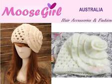 Beautiful Large Flower Hand Knitted White Beanie Women Ladies Warm Winter Hat