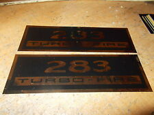 CHEVROLET 283 TURBOFIRE 283 TURBO FIRE VALVE COVER DECALS NEW PAIR BLACK GOLD