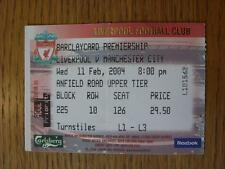 11/02/2004 Ticket: Liverpool v Manchester City  (folded)