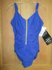 Miraclesuit 12 42 Suit Yourself Blitz Swimsuit One Piece Bathing Suit Blue