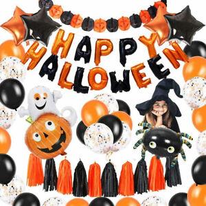 48Pcs Happy Halloween Balloon Garland Kit Orange Black Ballon Party Decorations