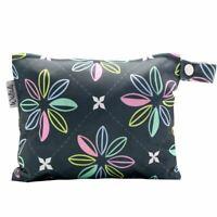 Small Waterproof Wet Bag with Zip 19 x 16cm - Dark Flowers Design