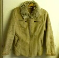 papaya sz 10 beige faux suede jacket with fur collar and lining