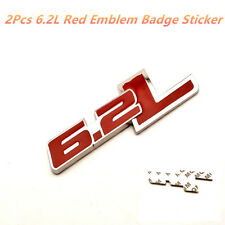 2Pcs 6.2L Red Emblem Badge Name Plate Decal Replaces OEM For Ford / Chevrolet