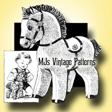 "Vintage Pet Pony ~ Horse Stuffed Animal Toy Pattern 1940s ~ 16"" tall"