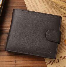 Genuine LEATHER Wallet Men Brown Button Money Cash Purse Xmas Gift/Present UK