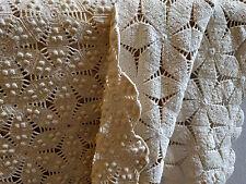 Antique Master Quality Crochet Blanket Bedspread Cotton Cream Twin Quilt