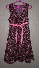 Pinky Brown & Peach Polka Dot Empire Waist Summer Party Dress Girl Small EuC