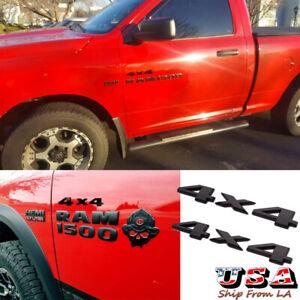 Pair Matte Black 4x4 Logo Side Door Fender Emblem Badge For Ram 1500 2500 3500