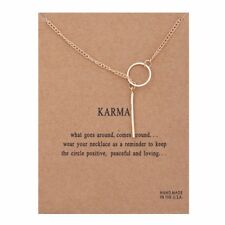 Karma Necklace Bronze Rose Gold Charm Circle and Drop Gift Wish Card