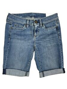 Ann Taylor LOFT Denim Bicycle Bermuda Shorts Womens Petite Size 0 NEW WITH TAGS!