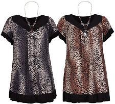 Damen Leopard Tier Druck Damen T-Shirt Perlen Halskette Anhänger Top Übergröße