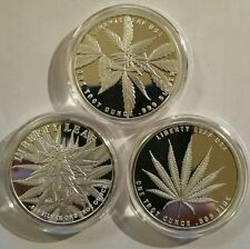 3 oz .999 fine SILVER PROOF liberty leaf Cannabis marijuana pot legalize it Rare