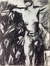 Mark Flake Vintage 1993 Nude Figure Drawing in Charcoal 18x24 expressionism
