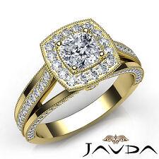 Cushion Diamond Milgrain Pave Engagement Ring GIA E VVS2 18k Yellow Gold 1.61Ct