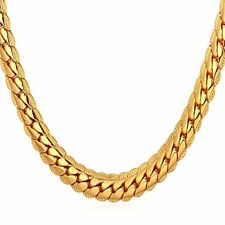 NEW U7 18K Gold Plated Men Jewelry 6MM Unique Snake Chain Necklace 22 Inch