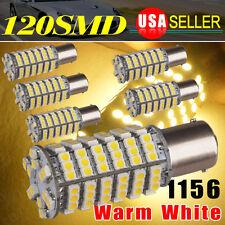 6X Warm White 1156 BA15S 120 SMD LED Light Blubs Turn Signal RV Camper 1141 1003