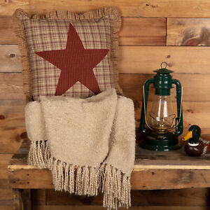 """VHC Brands Rustic 18""""x18"""" Appliqued Pillow Red Thanksgiving Dawson Bedroom Decor"""