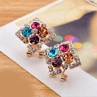 Fashion Charm Women Colorful Rhinestone Crystal Square Ear Stud Earring Jewelry