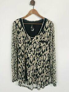 Oui Women's Leopard Print Henley T-Shirt   UK16   Beige