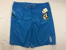 New Volcom 3D Solid Surf Boardshorts Blue Size 38 Polyester Free Shipping!