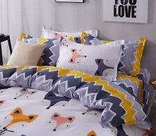 CUTE FOX STYLE KIDS Duvet Cover Bedding Set (Pillowcases + Flat Sheet)- TWIN