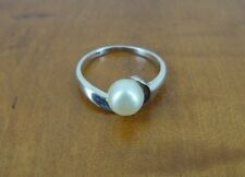 Pearl with twist around Silver Sterling 925 Ring Size 7