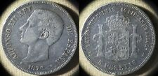 Spain : 1876(76) DE-M 5 Pesetas  VF+ Scrat. Rim Dings    #671   IR4479