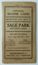 1920 Sage Park Memorial Day Harness Horse Racing Official Score Card Program