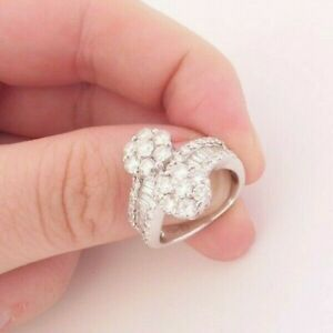 18ct gold 2ct baguette round cut double cluster ring,