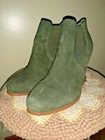 "Audrey Brooke ""Cindy"" Suede Olive Green Bootie Boots High heels Women's 10 W"