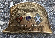 Vintage 1974 Lions Club Sudbury 54th Ontario Quebec Badge Pin Insignia Canada
