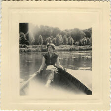 Vintage old photo-snapshot-boat boat woman mode-boat woman