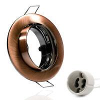 Faretto da Incasso GU10 Telaio Rame Spazzolato Per LED Rotondo Orientabile