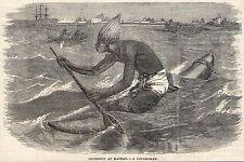 1879 ENGRAVING~NATIVE IN A CATAMARAN~MADRAS/CHENNAI INDIA~Original Antique~Boats