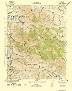 Topo Map - Mt Diablo California Quad - USGS 1943 - 23 x 29.31