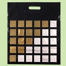 """Pack of 50 ECO Black Gold Printed Plastic Shopping/Carrier Bags """"Chess"""" 40x50cm"""
