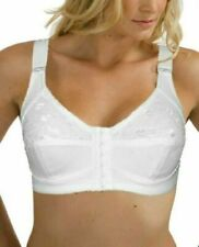 Cool White Front Fastening Bra Cotton Rich Firm Control Full Cup Non Wired Lace