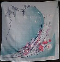 Shimmery 1970's Olga Greco Scarf w/ Abstract Floral Design (30 x 30)