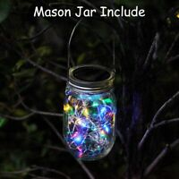 Solar Powered Mason Jar Lid Lights Set 20 LED Fairy String Lights Garden Decor