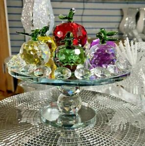 Stunning Bling Crushed Diamond Crystal  Fruits Apples Shaped Figurin On a Stand.