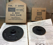 """Lot Of 2 Sears Craftsman Face Plates 6"""" & 4"""" In Original Box W/ Instructions NOS"""