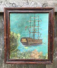 Antique Seascape Naval maritime peinture à l'huile encadrée